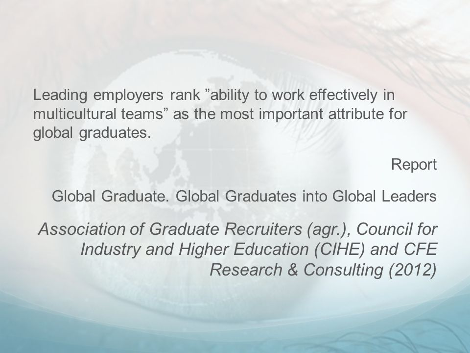 Leading employers rank ability to work effectively in multicultural teams as the most important attribute for global graduates.
