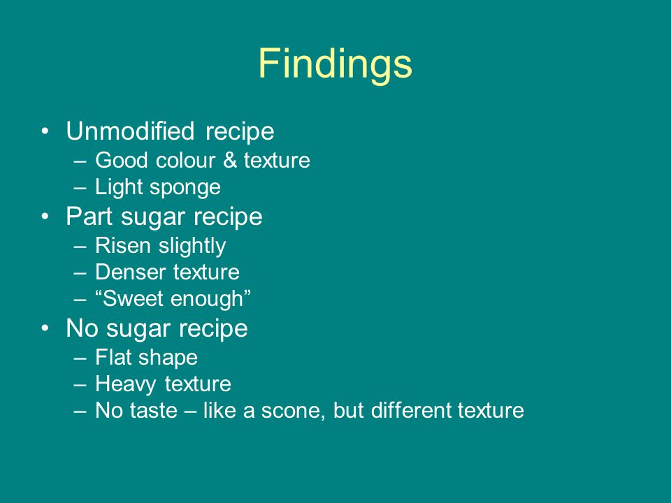 Findings Unmodified recipe –Good colour & texture –Light sponge Part sugar recipe –Risen slightly –Denser texture – Sweet enough No sugar recipe –Flat shape –Heavy texture –No taste – like a scone, but different texture