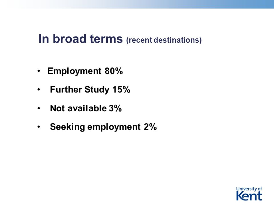 In broad terms (recent destinations) Employment 80% Further Study 15% Not available 3% Seeking employment 2%