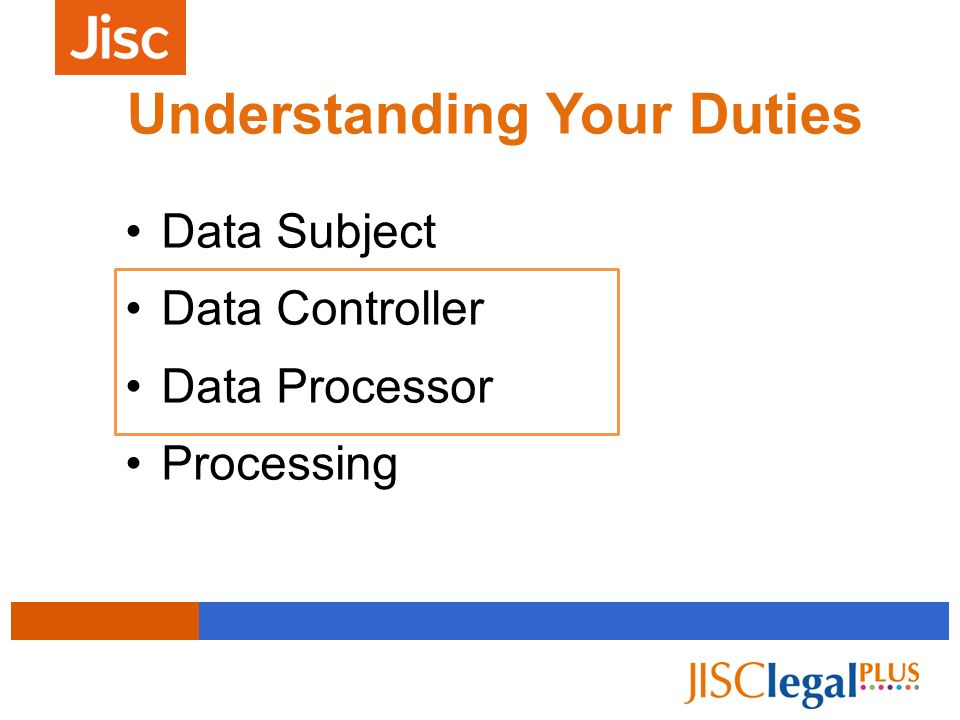 Understanding Your Duties Data Subject Data Controller Data Processor Processing