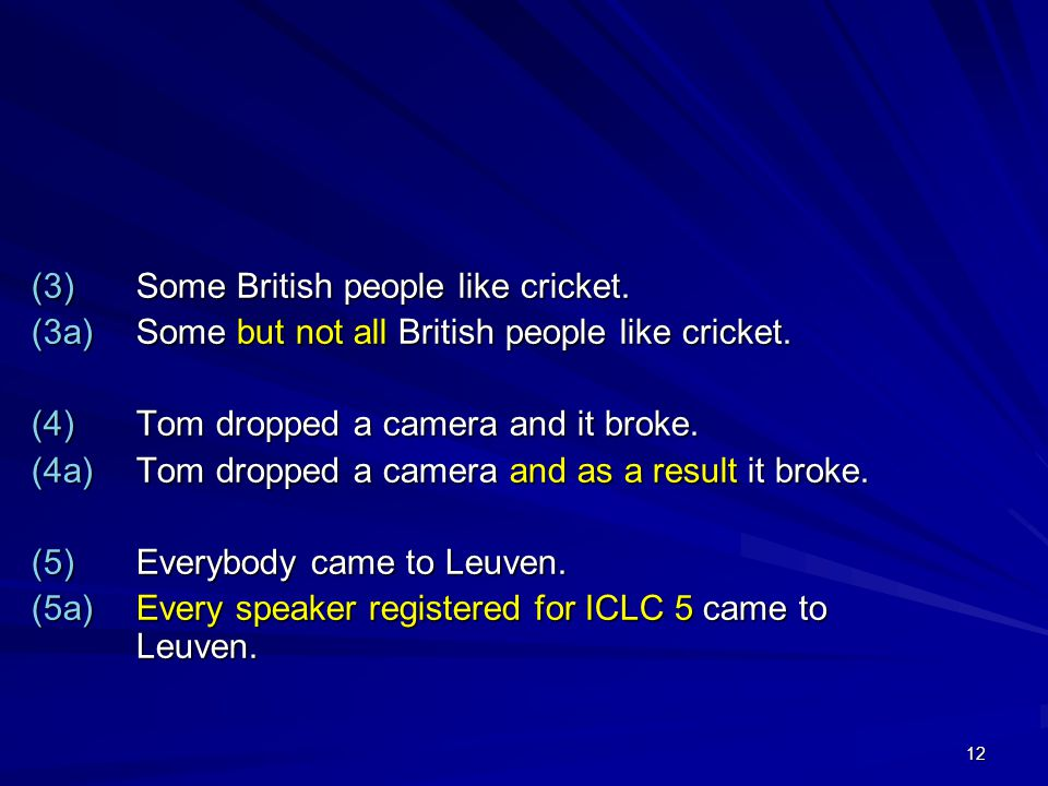 12 (3)Some British people like cricket. (3a)Some but not all British people like cricket.
