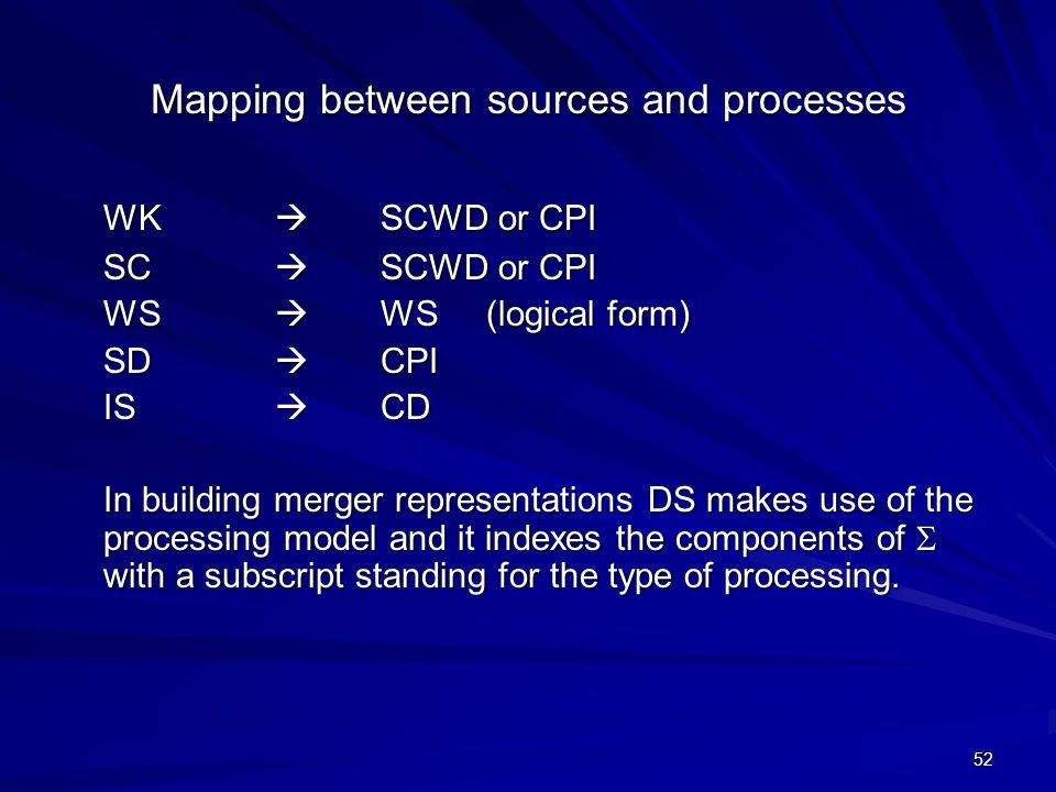 52 Mapping between sources and processes WK  SCWD or CPI SC  SCWD or CPI WS  WS (logical form) SD  CPI IS  CD In building merger representations DS makes use of the processing model and it indexes the components of  with a subscript standing for the type of processing.