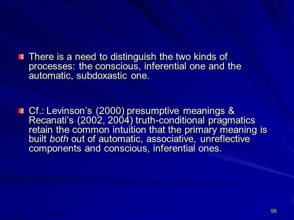 55 There is a need to distinguish the two kinds of processes: the conscious, inferential one and the automatic, subdoxastic one.