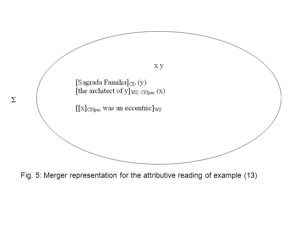  Fig. 5: Merger representation for the attributive reading of example (13)