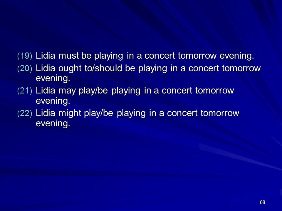 68 (19) Lidia must be playing in a concert tomorrow evening.