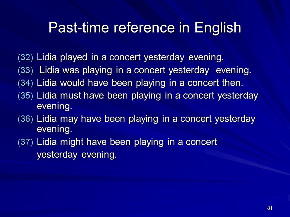 81 Past-time reference in English (32) Lidia played in a concert yesterday evening.