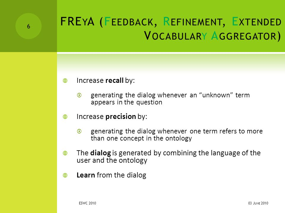 FRE Y A (F EEDBACK, R EFINEMENT, E XTENDED V OCABULARY A GGREGATOR )  Increase recall by:  generating the dialog whenever an unknown term appears in the question  Increase precision by:  generating the dialog whenever one term refers to more than one concept in the ontology  The dialog is generated by combining the language of the user and the ontology  Learn from the dialog 03 J UNE 2010 ESWC 2010 6