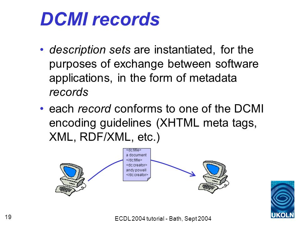 ECDL 2004 tutorial - Bath, Sept 2004 19 DCMI records description sets are instantiated, for the purposes of exchange between software applications, in the form of metadata records each record conforms to one of the DCMI encoding guidelines (XHTML meta tags, XML, RDF/XML, etc.) a document andy powell