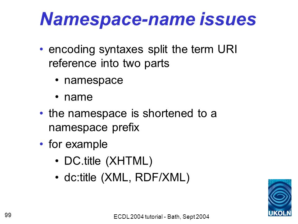 ECDL 2004 tutorial - Bath, Sept 2004 99 Namespace-name issues encoding syntaxes split the term URI reference into two parts namespace name the namespace is shortened to a namespace prefix for example DC.title (XHTML) dc:title (XML, RDF/XML)
