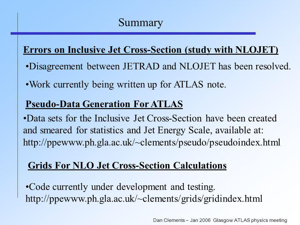 Dan Clements – Jan 2006 Glasgow ATLAS physics meeting Summary Errors on Inclusive Jet Cross-Section (study with NLOJET) Disagreement between JETRAD and NLOJET has been resolved.