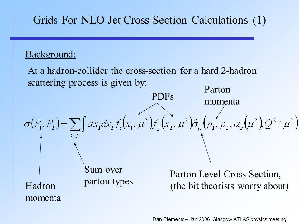Dan Clements – Jan 2006 Glasgow ATLAS physics meeting Grids For NLO Jet Cross-Section Calculations (1) Background: At a hadron-collider the cross-section for a hard 2-hadron scattering process is given by: Hadron momenta PDFs Parton Level Cross-Section, (the bit theorists worry about) Sum over parton types Parton momenta