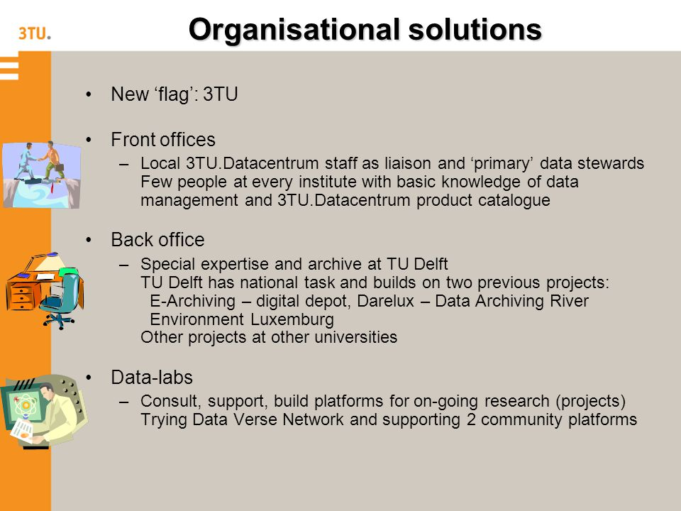 Organisational solutions New 'flag': 3TU Front offices –Local 3TU.Datacentrum staff as liaison and 'primary' data stewards Few people at every institute with basic knowledge of data management and 3TU.Datacentrum product catalogue Back office –Special expertise and archive at TU Delft TU Delft has national task and builds on two previous projects: E-Archiving – digital depot, Darelux – Data Archiving River Environment Luxemburg Other projects at other universities Data-labs –Consult, support, build platforms for on-going research (projects) Trying Data Verse Network and supporting 2 community platforms