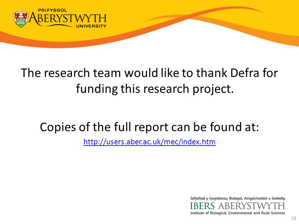 The research team would like to thank Defra for funding this research project.