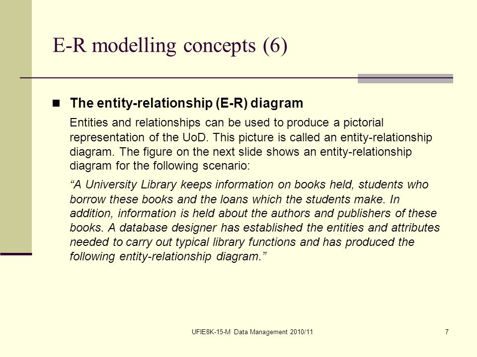UFIE8K-15-M Data Management 2010/117 E-R modelling concepts (6) The entity-relationship (E-R) diagram Entities and relationships can be used to produce a pictorial representation of the UoD.