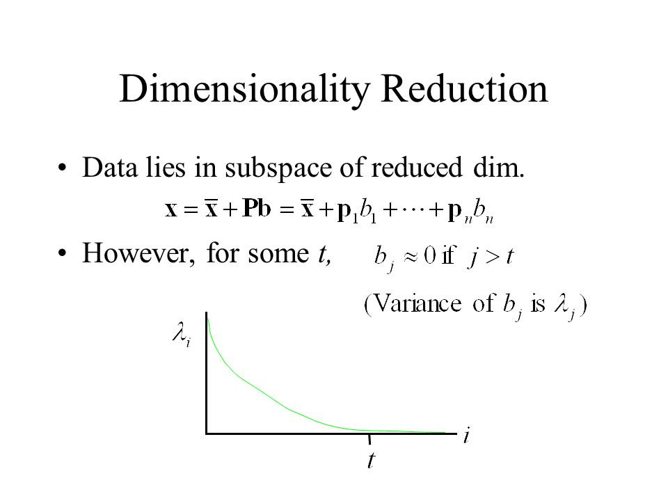 Dimensionality Reduction Data lies in subspace of reduced dim. However, for some t,