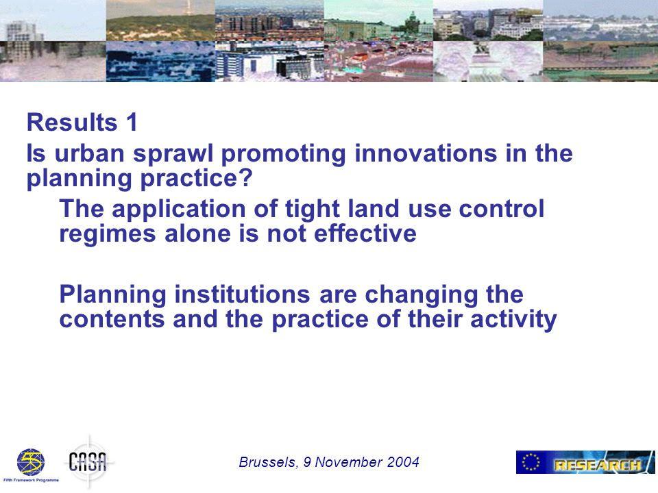 Results 1 Is urban sprawl promoting innovations in the planning practice.