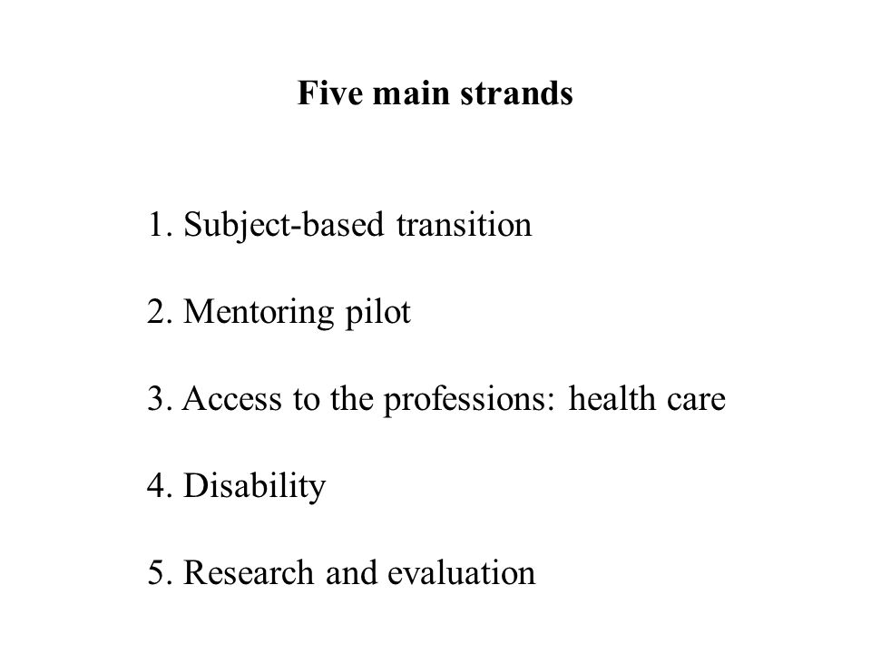 Five main strands 1. Subject-based transition 2. Mentoring pilot 3.