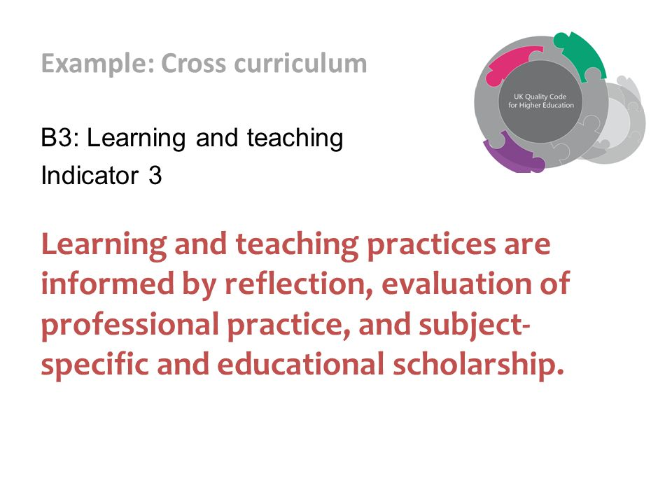 Example: Cross curriculum B3: Learning and teaching Indicator 3 Learning and teaching practices are informed by reflection, evaluation of professional practice, and subject- specific and educational scholarship.