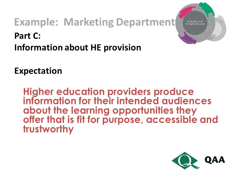 Example: Marketing Department Part C: Information about HE provision Expectation Higher education providers produce information for their intended audiences about the learning opportunities they offer that is fit for purpose, accessible and trustworthy
