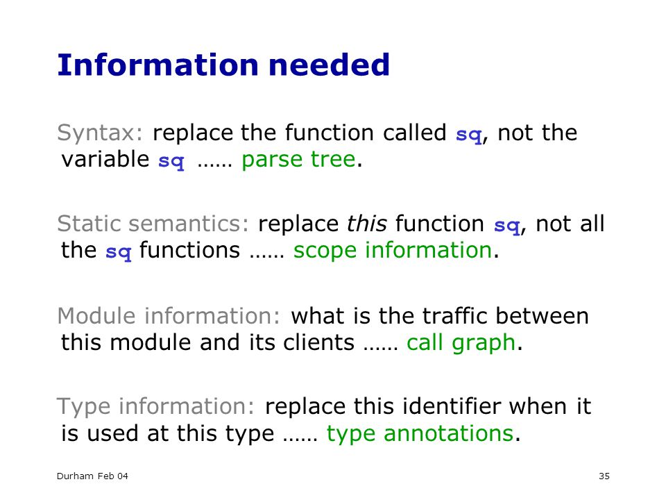 Durham Feb 0435 Information needed Syntax: replace the function called sq, not the variable sq …… parse tree.