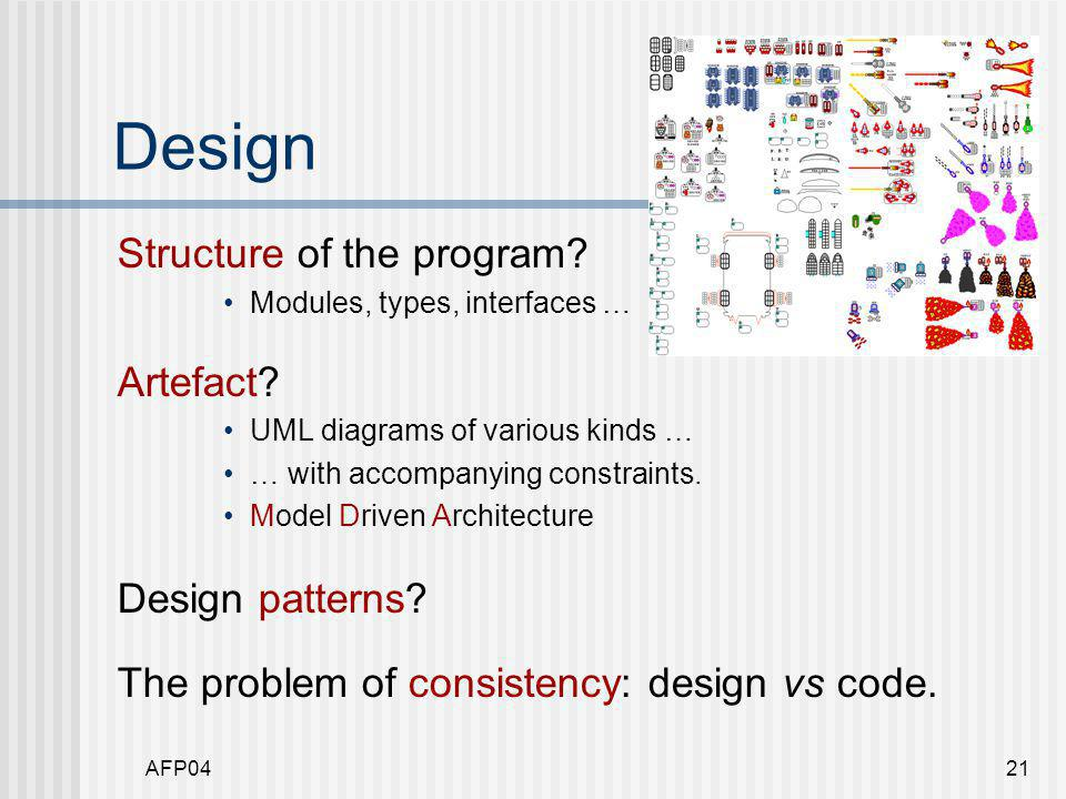 AFP0421 Design Structure of the program. Modules, types, interfaces … Artefact.
