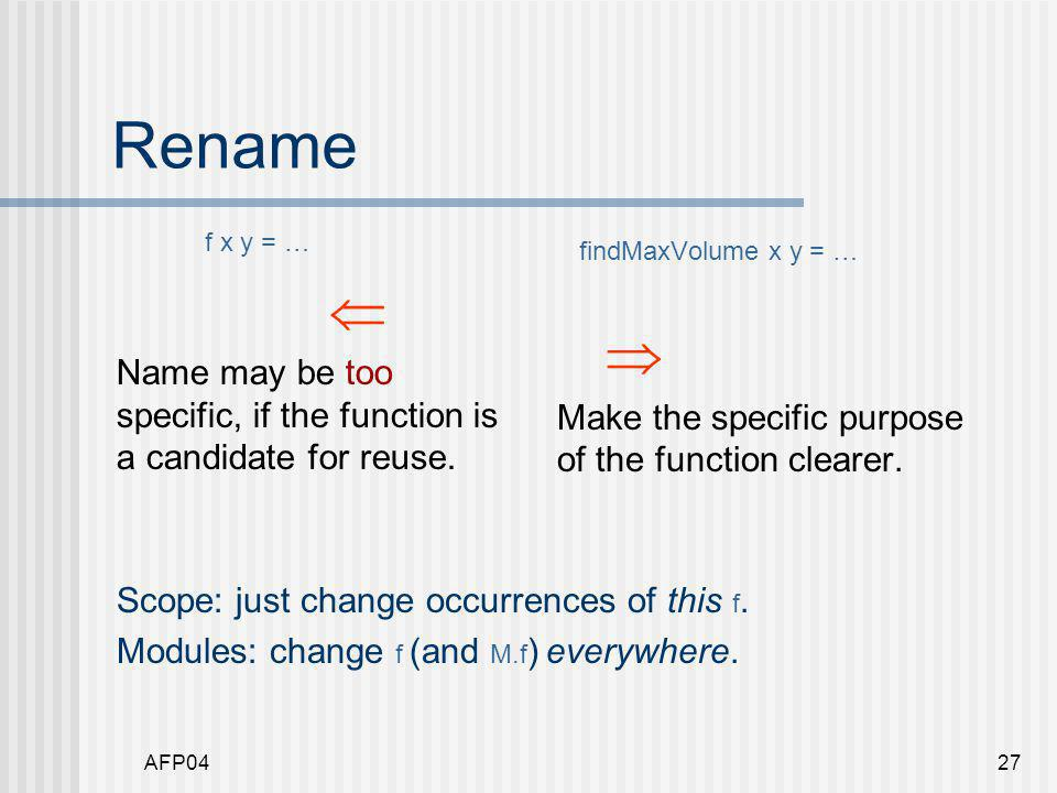 AFP0427 Rename f x y = …  Name may be too specific, if the function is a candidate for reuse.