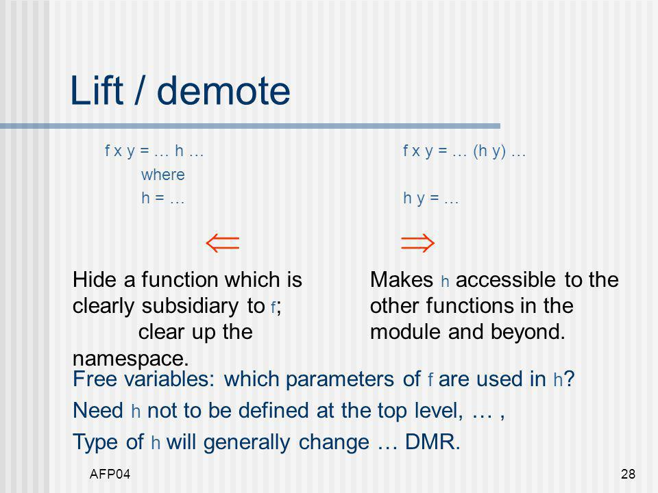 AFP0428 Lift / demote f x y = … h … where h = …  Hide a function which is clearly subsidiary to f ; clear up the namespace.