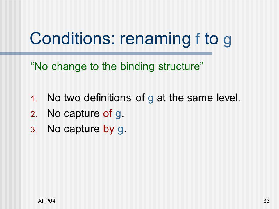 AFP0433 Conditions: renaming f to g No change to the binding structure 1.