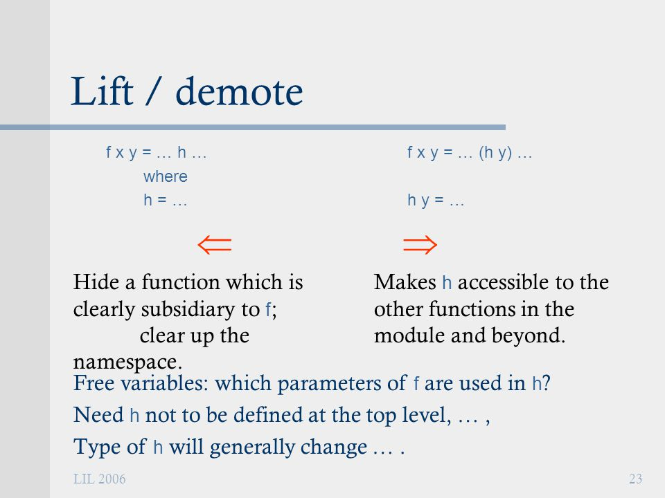 LIL 200623 Lift / demote f x y = … h … where h = …  Hide a function which is clearly subsidiary to f ; clear up the namespace.