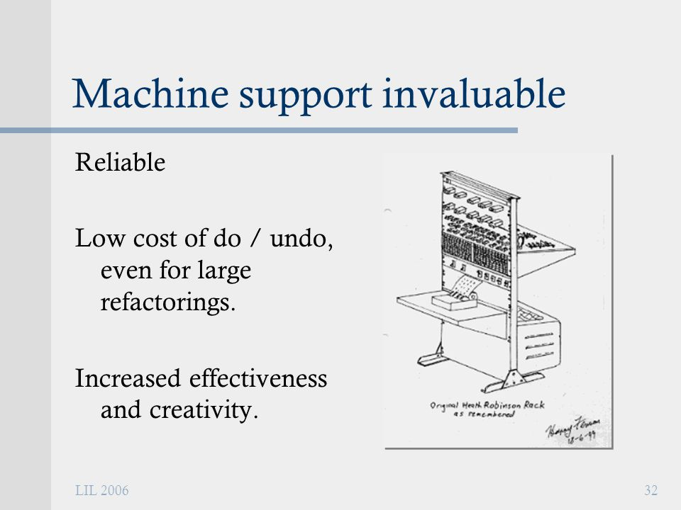 LIL 200632 Machine support invaluable Reliable Low cost of do / undo, even for large refactorings.