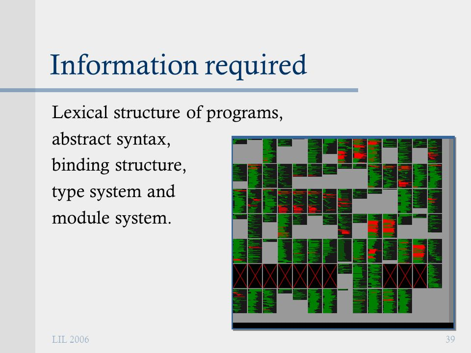 LIL 200639 Information required Lexical structure of programs, abstract syntax, binding structure, type system and module system.