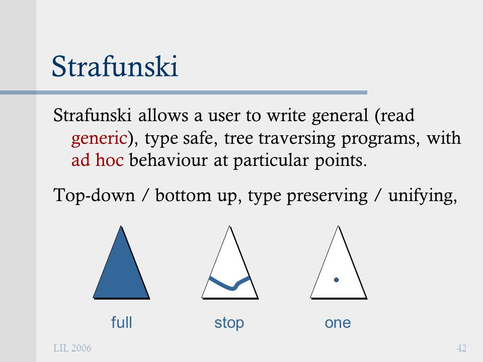 LIL 200642 Strafunski Strafunski allows a user to write general (read generic), type safe, tree traversing programs, with ad hoc behaviour at particular points.