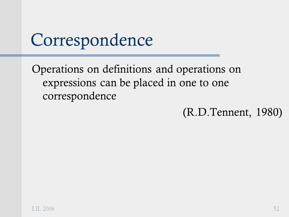 LIL 200652 Correspondence Operations on definitions and operations on expressions can be placed in one to one correspondence (R.D.Tennent, 1980)