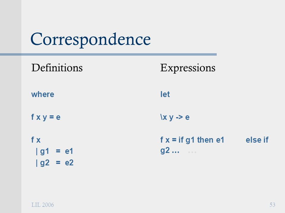 LIL 200653 Correspondence Definitions where f x y = e f x | g1 = e1 | g2 = e2 Expressions let \x y -> e f x = if g1 then e1 else if g2 … …
