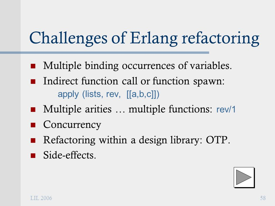 LIL 200658 Challenges of Erlang refactoring Multiple binding occurrences of variables.