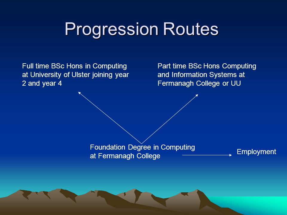 Progression Routes Foundation Degree in Computing at Fermanagh College Full time BSc Hons in Computing at University of Ulster joining year 2 and year 4 Part time BSc Hons Computing and Information Systems at Fermanagh College or UU Employment