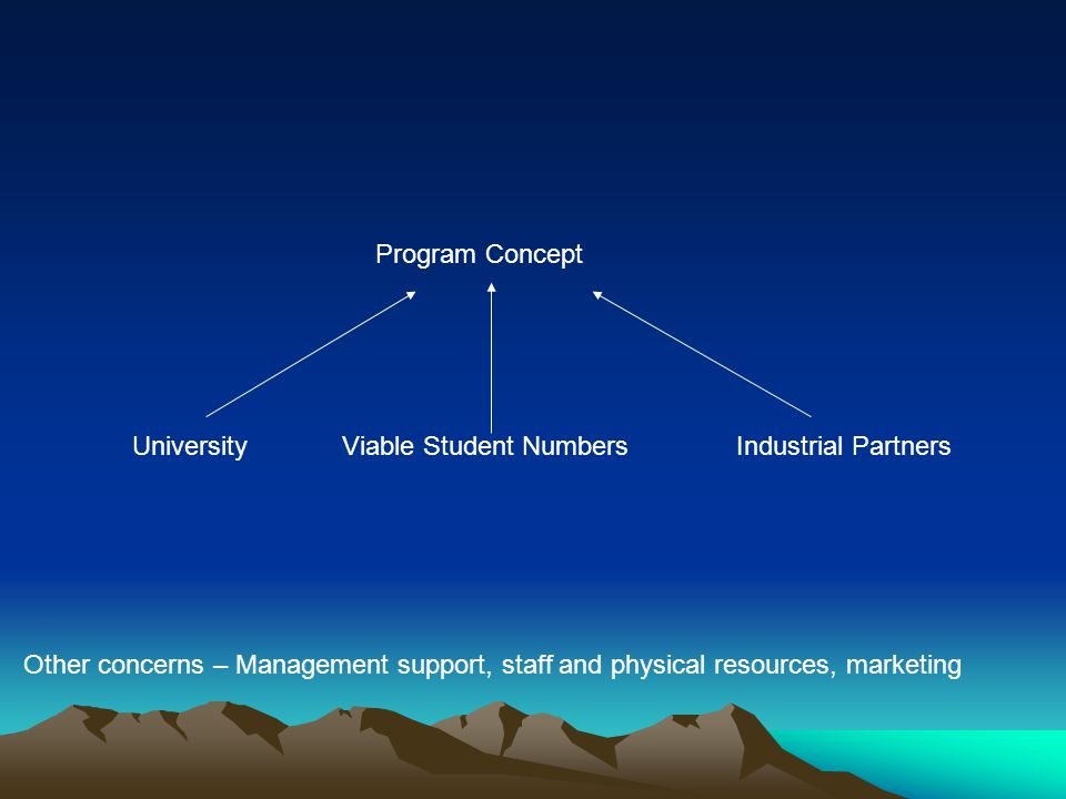 Viable Student NumbersUniversityIndustrial Partners Program Concept Other concerns – Management support, staff and physical resources, marketing