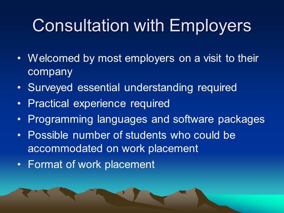 Consultation with Employers Welcomed by most employers on a visit to their company Surveyed essential understanding required Practical experience required Programming languages and software packages Possible number of students who could be accommodated on work placement Format of work placement