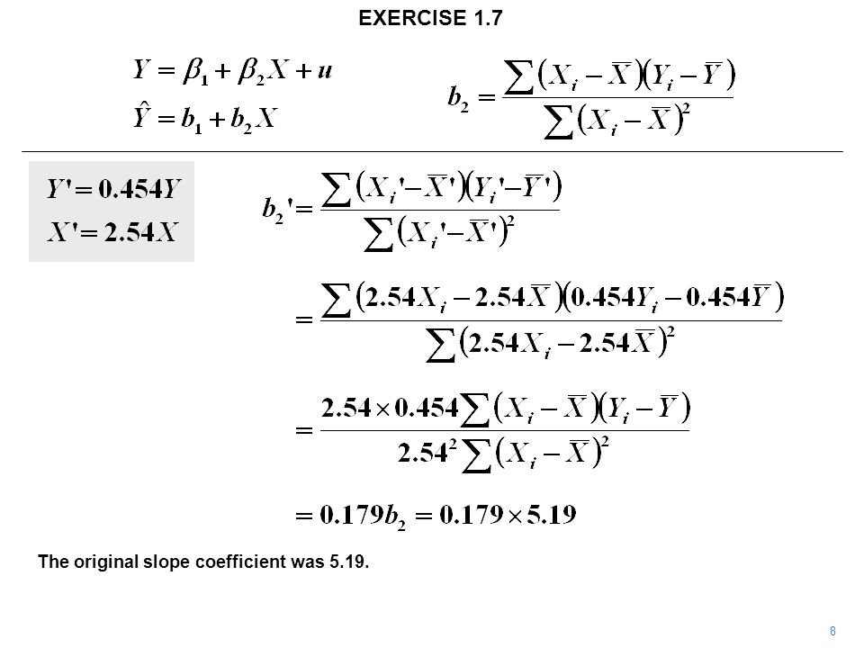 8 EXERCISE 1.7 The original slope coefficient was 5.19.