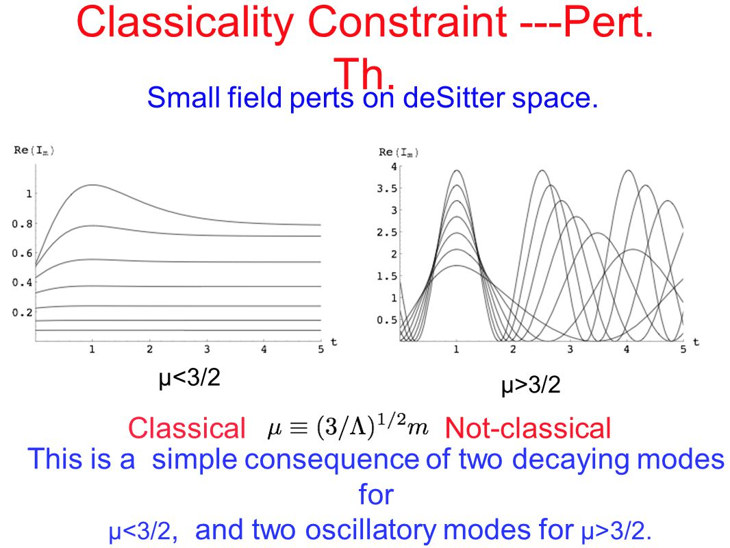 Classicality Constraint ---Pert. Th. Small field perts on deSitter space.