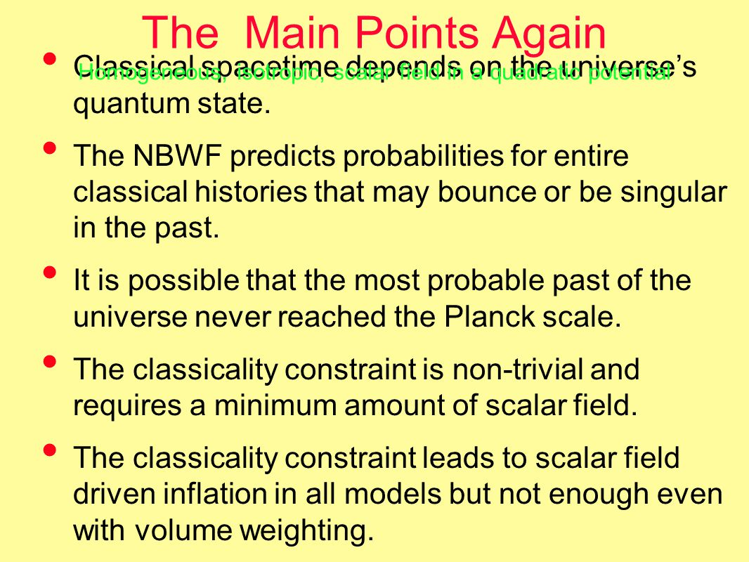 The Main Points Again Classical spacetime depends on the universe's quantum state.