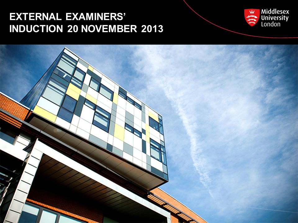 EXTERNAL EXAMINERS' INDUCTION 20 NOVEMBER 2013