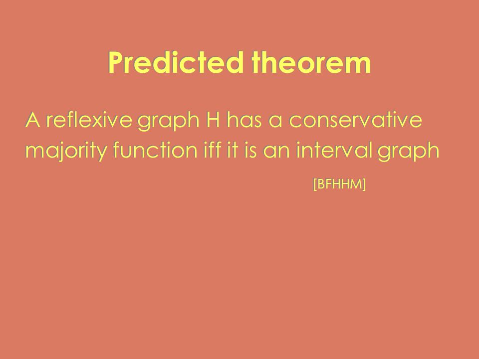 Predicted theorem A reflexive graph H has a conservative majority function iff it is an interval graph [BFHHM] A reflexive graph H has a conservative majority function iff it is an interval graph [BFHHM]