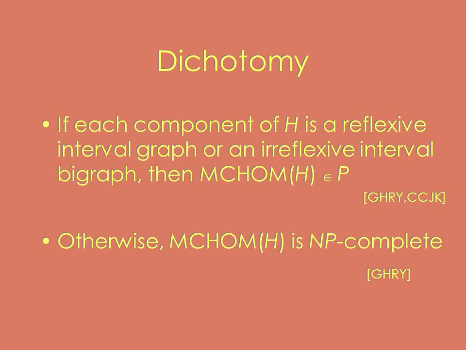 Dichotomy If each component of H is a reflexive interval graph or an irreflexive interval bigraph, then MCHOM(H)  P [GHRY,CCJK] Otherwise, MCHOM(H) is NP-complete [GHRY] If each component of H is a reflexive interval graph or an irreflexive interval bigraph, then MCHOM(H)  P [GHRY,CCJK] Otherwise, MCHOM(H) is NP-complete [GHRY]