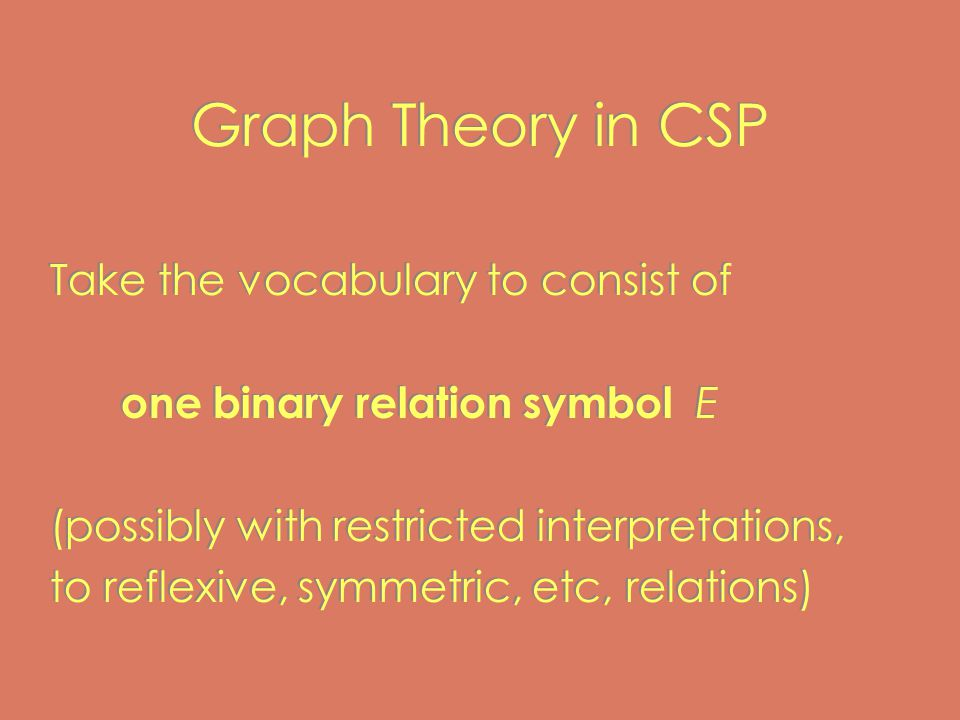 Graph Theory in CSP Take the vocabulary to consist of one binary relation symbol E (possibly with restricted interpretations, to reflexive, symmetric, etc, relations) Take the vocabulary to consist of one binary relation symbol E (possibly with restricted interpretations, to reflexive, symmetric, etc, relations)