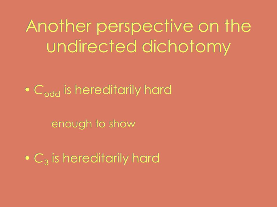 Another perspective on the undirected dichotomy C odd is hereditarily hard enough to show C 3 is hereditarily hard C odd is hereditarily hard enough to show C 3 is hereditarily hard
