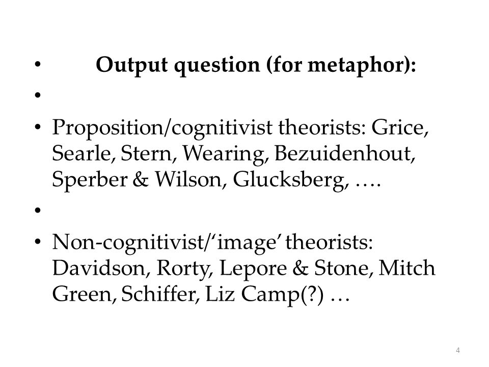 Output question (for metaphor): Proposition/cognitivist theorists: Grice, Searle, Stern, Wearing, Bezuidenhout, Sperber & Wilson, Glucksberg, ….