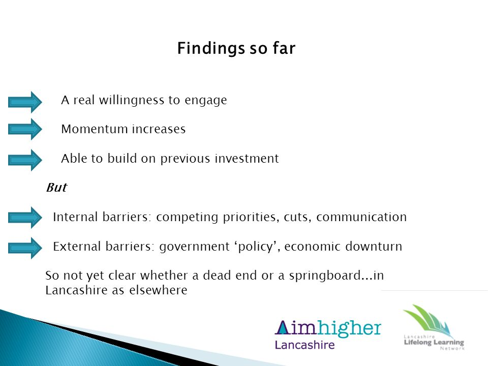 Findings so far A real willingness to engage Momentum increases Able to build on previous investment But Internal barriers: competing priorities, cuts, communication External barriers: government 'policy', economic downturn So not yet clear whether a dead end or a springboard...in Lancashire as elsewhere