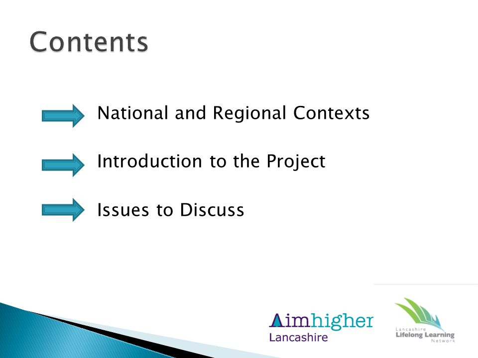 National and Regional Contexts Introduction to the Project Issues to Discuss