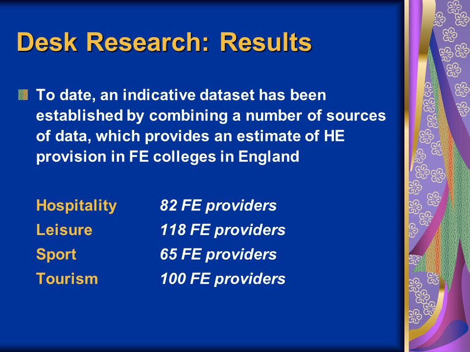 Desk Research: Results To date, an indicative dataset has been established by combining a number of sources of data, which provides an estimate of HE provision in FE colleges in England Hospitality82 FE providers Leisure118 FE providers Sport65 FE providers Tourism100 FE providers